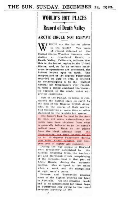 """Continuiamo con il quotidiano New York Tribune dove il 21 luglio 1957, pubblicava la notizia: """"Nel nord della Norvegia a Karasjok, comune norvegese della contea del Troms in Lapponia, sopra il Circolo Polare Artico la temperatura ha raggiunto ancora una volta i 100 gradi Fahrenheit. In questi anni la CO2 era di circa 315 ppm."""