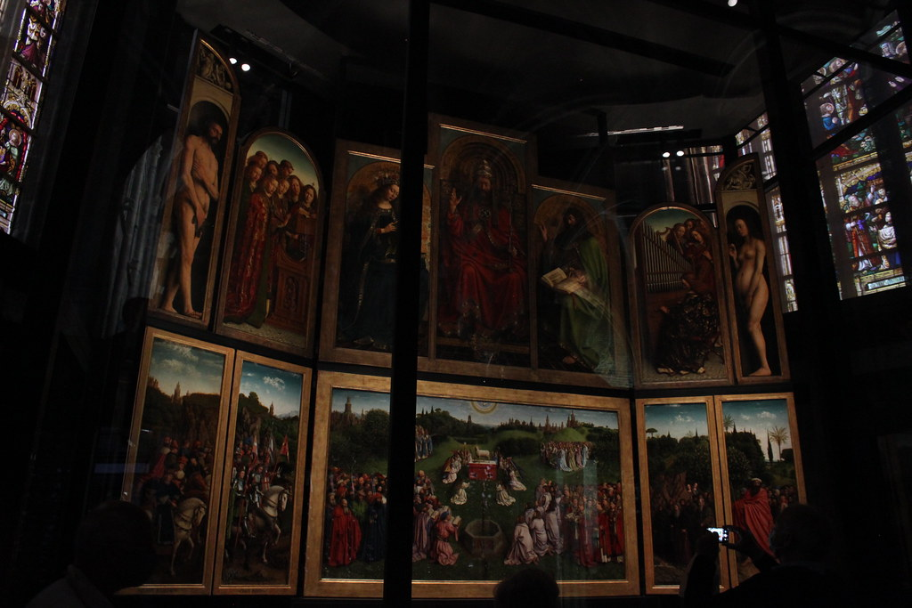 Retablo original 'Adoración Cordero Místico' de Van Eyck