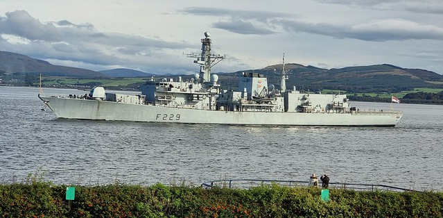 HMS Lancaster passing Greenock after a visit to Glasgow