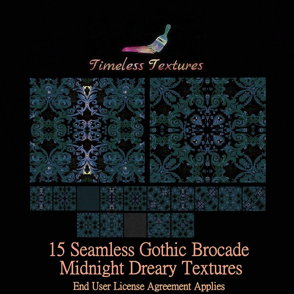 TT 15 Seamless Gothic Brocade Midnight Dreary Timeless Textures