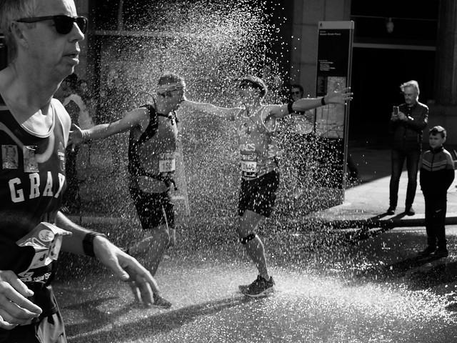 London Marathon runners - enjoying a quick shower