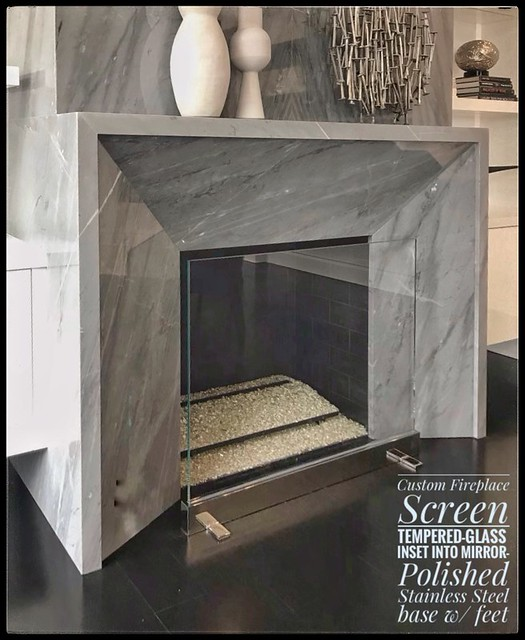 Custom Glass (Tempered- of course) + Stainless Steel Fireplace Screen I made- but .....