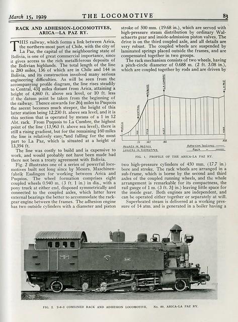 Ferrocarril Arica-La Paz (Arica-La Paz Railway) - Rack locomotives (1929)