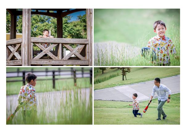 愛知県豊田市の鞍ヶ池公園で家族写真のロケーション撮影