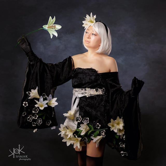 Galini as 2B in kimono from Nier Automata by SpirosK photography (I: closeups)