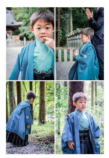 5歳の七五三 衣装は青の羽織袴の男の子