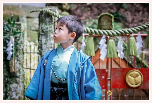 七五三 5歳の男の子 ブルーの羽織