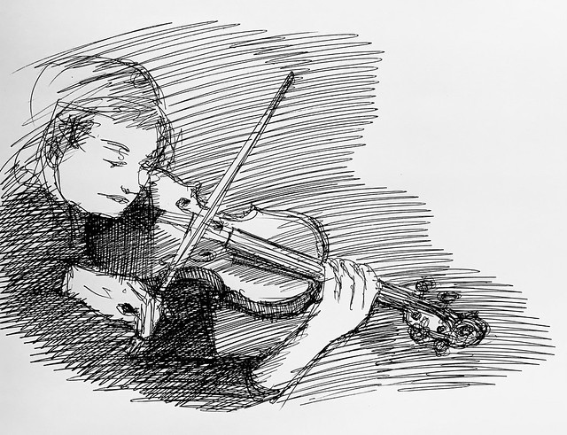 Ballpoint pen only Sketch off the television , of violinist playing a Stradivarius. Only on this site, just for Fun.