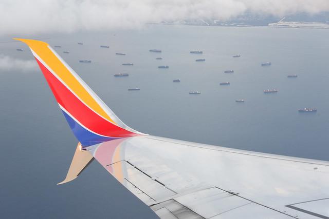 Ships Waiting Off Long Beach, California