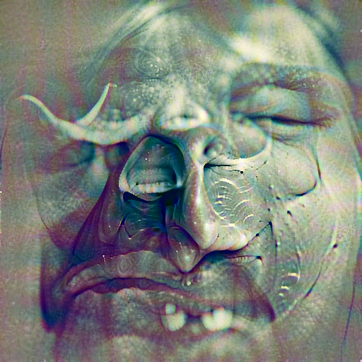 'a digital rendering of an ugly face' DirectVisions Text-to-Image