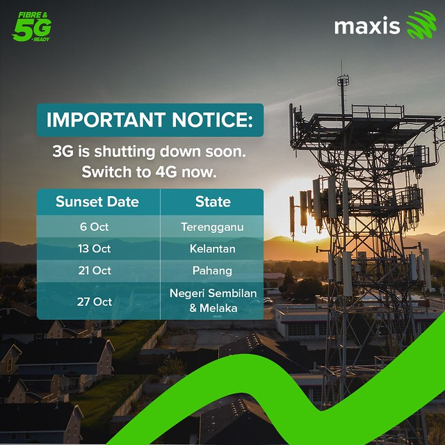 Maxis Mula Tamatkan Rangkaian 3G Di Malaysia, Bermula Di Terengganu