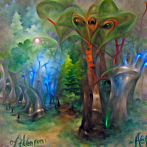 'an alien forest by Helen Berman' DirectVisions Text-to-Image
