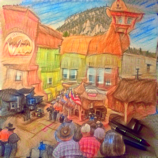 'a color pencil sketch of a western town' DirectVisions Text-to-Image