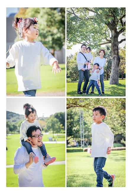 おそろいコーデで家族写真のロケーション撮影