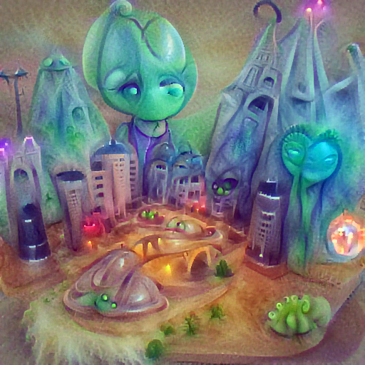 'an alien city' DirectVisions Text-to-Image
