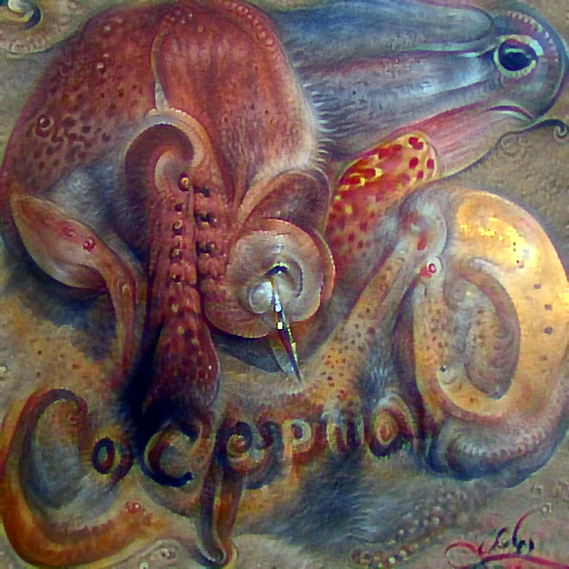 'a detailed painting of a cephalopod' DirectVisions Text-to-Image