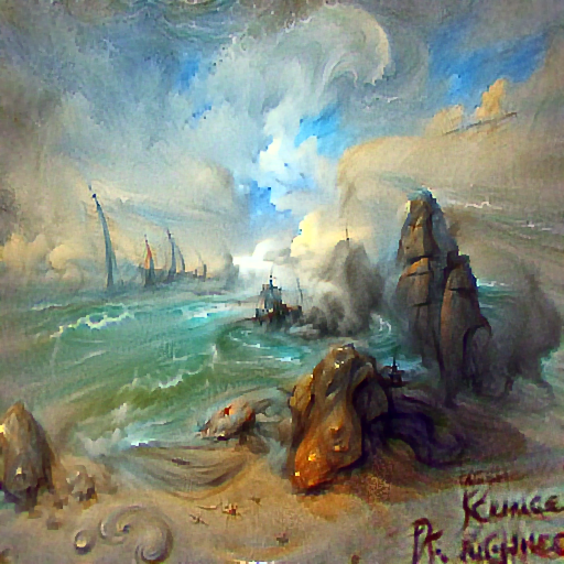'a rough seascape by Pinchus Kremegne' DirectVisions Text-to-Image