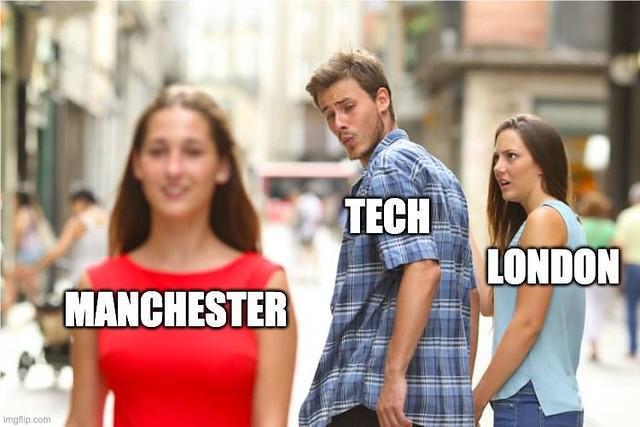 London vs. Manchester: levelling up meme via Katie Gallagher at Manchester Digital