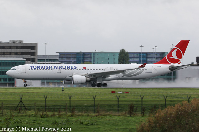 TC-LNF - 2016 build Airbus A330-303, rolling for departure on Runway 23R at a damp, dark Manchester