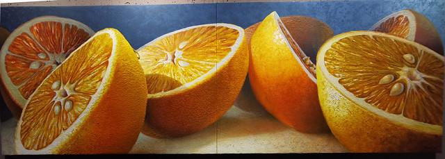 Naranjas pintura de Manuel Toledo expuestas en el Ambito Cultural de El Corte Inglés Las Palmas de Gran Canaria