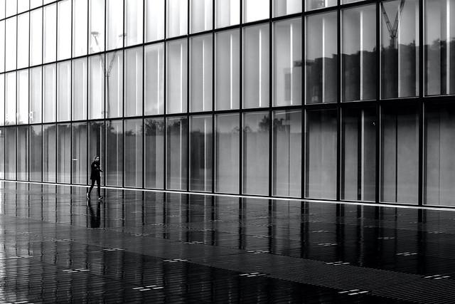 Along the glass doors
