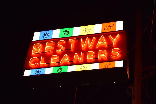 1957 bestway cleaners - pillar sign / nite