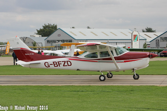 G-BFZD - 1978 Reims built Cessna FR182 Skylane RG, taxiing for departure at Sywell during the 2015 LAA Rally