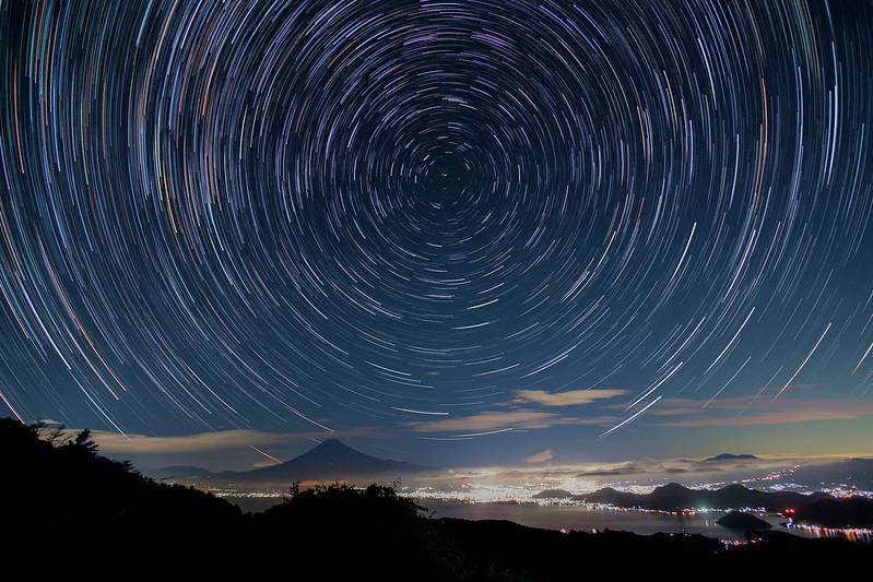 Star trail above Mt. Fuji