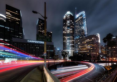 los angeles long exposure night clouds financial district light trails downtown la buildings architecture freeway cars nikon d810 wide angle lens nikkor 1424mm city landscape cityscape rain