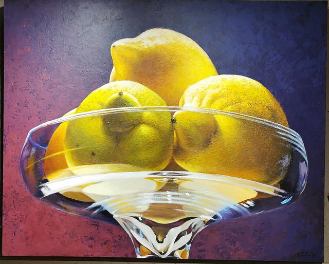 Limones pintura de Manuel Toledo expuestas en el Ambito Cultural de El Corte Inglés Las Palmas de Gran Canaria