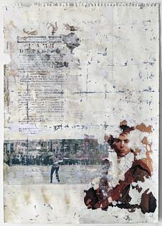 Zavier Ellis 'Liberté XIX', 2021 Emulsion, collage, transfer on paper 59.4x42cm