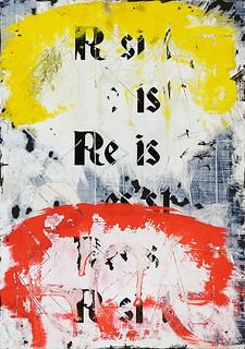 Zavier Ellis 'Resist (Repeat) I (Freiheit)', 2021 Acrylic, emulsion, spray paint, ink on digital gloss print 29.7x21cm