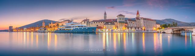 Huge panorama of Trogir (Croatia) during the blue hour