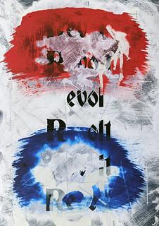 Zavier Ellis 'Revolt (Repeat) II (Tricolour)', 2021 Acrylic, emulsion, spray paint on digital gloss print 29.7x21cm