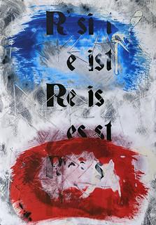 Zavier Ellis 'Resist (Repeat) II (Tricolour)', 2021 Acrylic, emulsion, spray paint on digital gloss print 29.7x21cm