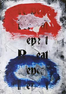 Zavier Ellis 'Repeat (Repeat) II (Tricolour)', 2021 Acrylic, emulsion, spray paint on digital gloss print 29.7x21cm