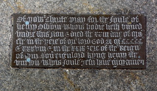 'Of your charitie pray for the soule of Henry Alborn whois bodie lieth buried under this ston', 1538