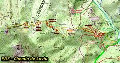 Carte IGN du chemin de Luviu (PR7) avec état du chemin (ronces, repousses, panneaux détruits) au 07/10/2021
