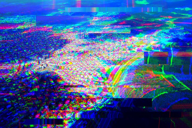 glitched distorted landscape