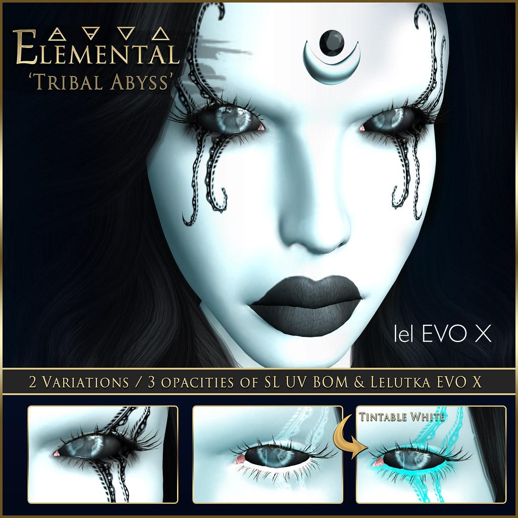 - ELEMENTAL - 'Tribal Abyss'  BOM & Lelutka EVO X Advert