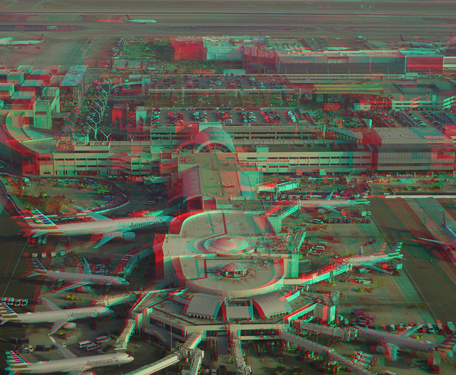 Los Angleles International Airport (LAX) Terminal 4 (American Aerlines) Hyperstereo Anaglyph - Olympus Stylus Tough TG-4