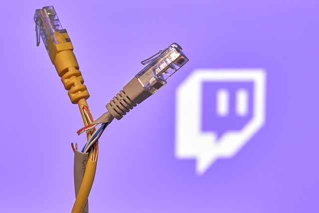 Torn connection cables over Twitch logo