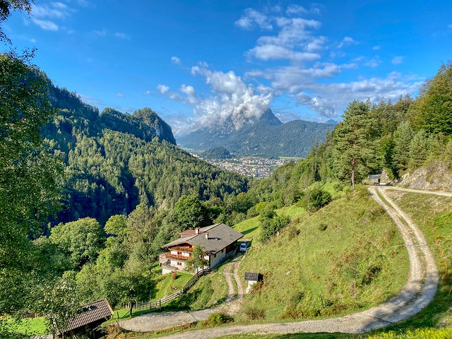 View from Zottenhof in Kaisertal towards Kufstein in the river Inn valley with Pendling mountain shrouded in clouds in Tyrol, Austria