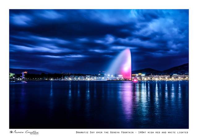 Dramatic Sky over the Geneva Fountain - 140mt high red and white lighted - NZ6_4080 (1)