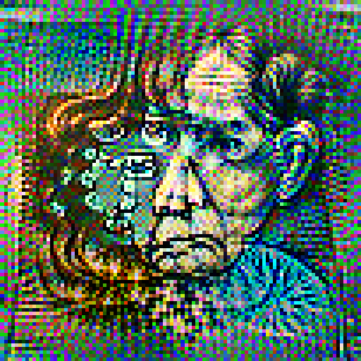 'an etching of a worried woman' Pixel Direct Text-to-Image