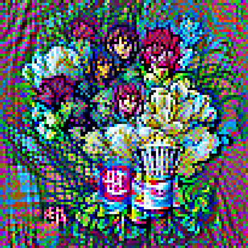 'a silk screen of a bouquet of flowers' Pixel Direct Text-to-Image