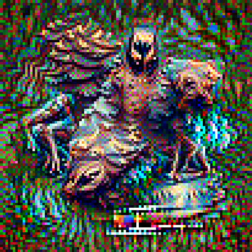 'a bronze sculpture of a nightmare creature' Pixel Direct Text-to-Image