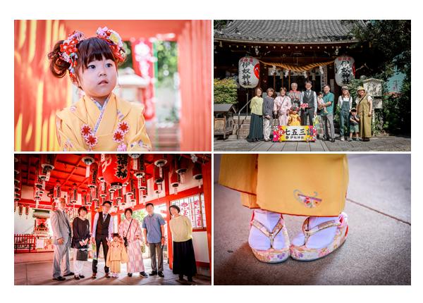 七五三 名古屋市の伊奴神社 家族・親族の集合写真