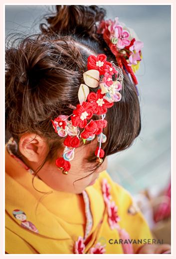 七五三 3歳の女の子のヘアスタイル・髪飾り
