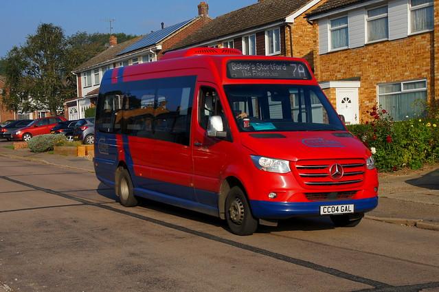Shrinking Act: Trustybus Mercedes Benz Sprinter/EVM CC04GAL (formerly GU19KKE) Croasdaile Road Stansted Mountfitchet 09/10/21
